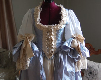 Two tone blue silk and satin Marie Antoinette Victorian inspired rococo costume dress halloween