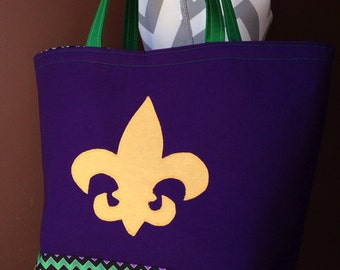Mardi Gras Purple Green and Gold Tote Bag