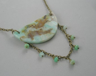 Green and Brown on Antique Bronze Chain