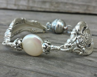Gorgeous  Vintage Spoon Bracelet With A Pearl