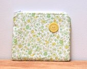 CLEARANCE- Floral Zipper Pouch with Yellow Vintage Button Green Pink Yellow Fabric