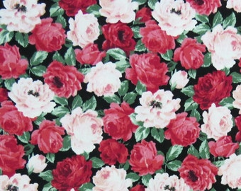 2650B -- Rose Blossom Twill Fabric on Red/Pink, Rose Flower Fabric, Rose Free Collections, Japanese Cotton Twill Fabric