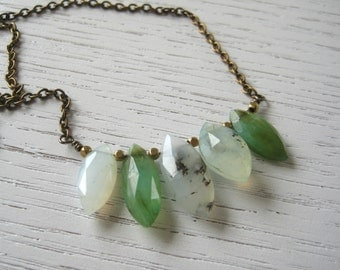 SALE - Genuine Peruvian Opal Briolettes on Brass Chain