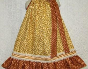 Girls 3T/4T Dress Gold Floral Rust Red Boutique Pillowcase Dress, Pillow Case Dress, Sundress