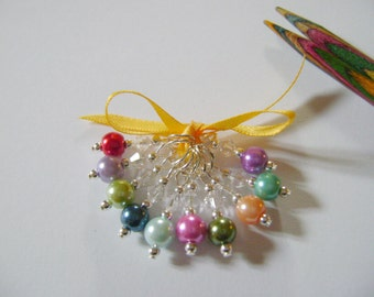 Rainbow Pearl Stitch Markers for Knitting or Crochet