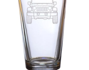 Jeep etched Pint glass