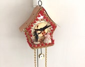 Vintage Christmas Ornament Cuckoo Clock Sequin Pins Wedding Couple