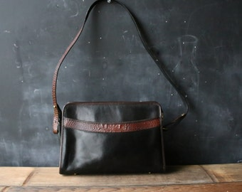 Leather Crossbody Purse Black and Brown From 70s or 80s With Great Detail And Brass Feet From Nowvintage on Etsy