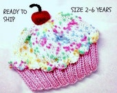 Cupcake Hat with Cherry on Top Cake Cotton Pink Cake Marshmallow Cream White with Sprinkles Frosting READY TO SHIP Size 2 - 6 years old