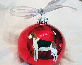 American English Coonhound Hand Painted Christmas Ornament - Can Be Personalized with Name