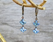 Vintage Crystal Light Sapphire Blue Drop Earrings Brass