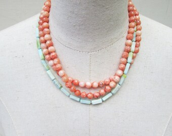 Aqua Turquoise and Coral Beaded Layered Necklace, Watercolors