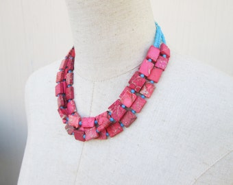 Hot Pink Turquoise Multi Strand Beaded Layered Necklace