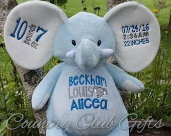 personalized baby gift, personalized  plush, stuffed plush, blue elephant kids personalized stuffed animal keepsake, baby gift, Embroider Bu