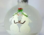 Christmas Ornament, Wedding, Bride Bride, Mrs & Mrs. Snowcouple, winter wedding, anniversary gift