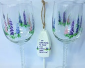 Lupine, Lobster buoy Ornament, Personalized, Thank you Gift, set of two wine glasses, Custom Order