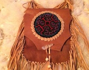 Shipibo Leather Medicine Bag - handmade - Power Bag - Fringe - Gypsy - Boho - Aya