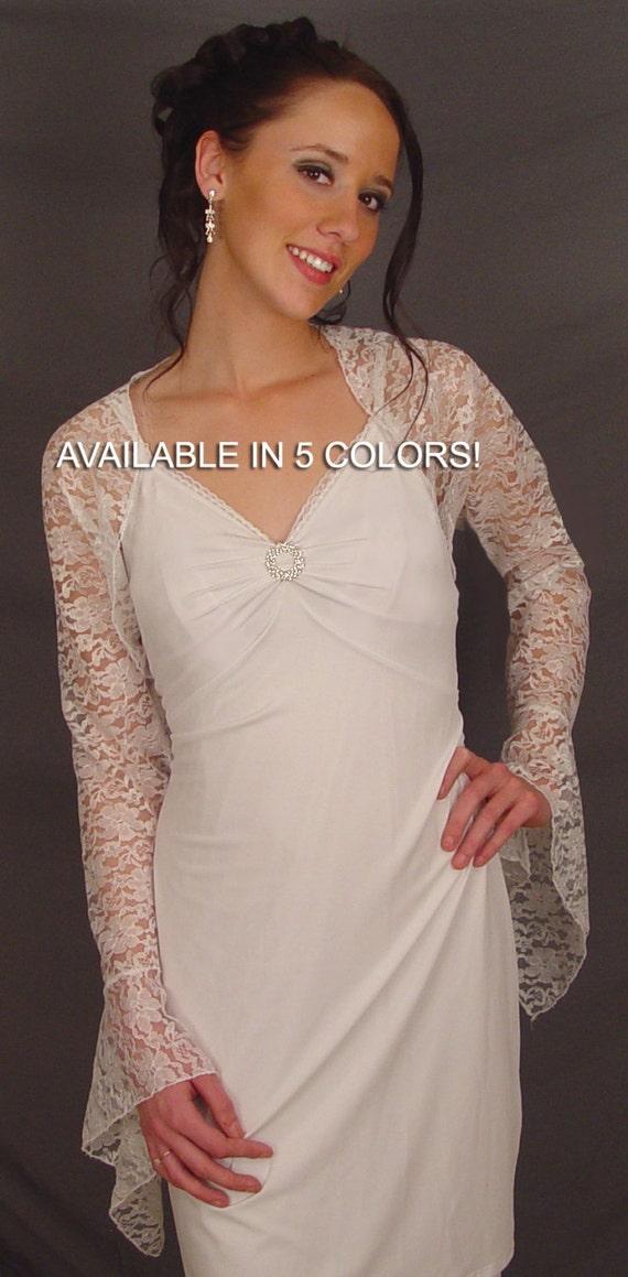 Lace bolero jacket shrug wedding bell sleeve bridal lba303 for Black lace jacket for wedding dress