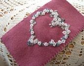 Hand Embroidered Deep Rose Pink Felt Glasses Case