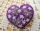 Heart Shaped Mauve Felt Pin with Flowers  Blossom and Leaves