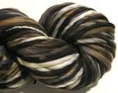 Super Bulky Handspun Yarn, Johanne 120 yards, hand dyed merino wool, black yarn, brown yarn, grey gray, knitting supplies, crochet supplies