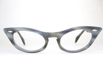 Vintage Blue Marbled Horn Rim Cat Eye Eyeglasses Frame