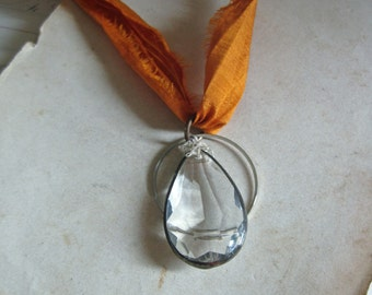 Long Necklace Crystal Glass Chandelier Jewelry Burnt Orange Silk Ribbon