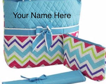 Diaper Bag Quilted Multi-Colored Chevron Print with Personalized Embroidery