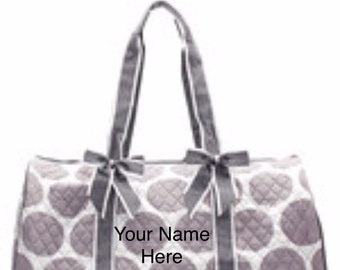 Duffle Bag Grey Polka Dot Quilted with Personalized Embroidery