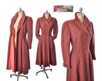 50s princess coat / Vera Maxwell flecked marsala pink coat / 1950s coat .. xs