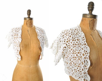 1930s crochet jacket / white bolero jacket / crochet lace shrug / 30s jacket