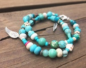 Beaded Wrap Bracelet - Turqouise-themed with Feather and Wing charm