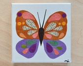 Original Paper Collage on Canvas - Lavender, Coral & Coffee Butterfly - One of a Kind by Megan Jewel