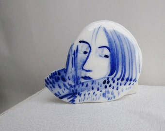 Mies - Portrait of a girl - Hand painted porcelain brooch in blue and white  -  Wearable Art