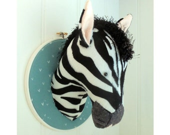 Zebra Trophy Head Faux Taxidermy pdf pattern instant download