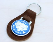 Vintage Leather Zodiac Keychain - Aries