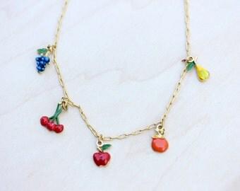 Vintage Fruit Charm Necklace