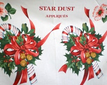 Stardust Glittery Appliques Christmas Fabric Panel