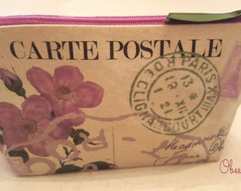 Vintage French Paris Postcard Botanical Pink Dogwood Flowers Makeup Bag, Cosmetic Bag Lined Zippered Pouch Mauve, Golden Yellow and Green