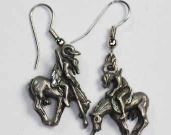 End of the Trail Earrings Native American Warrior Dangle Earrings Vintage