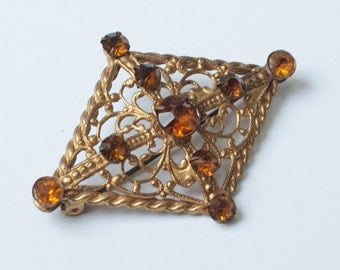 Topaz Rhinestone Brooch Diamond Shaped Filigree Czech Vintage