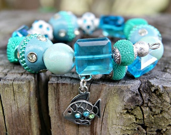 At the Beach Aqua Blue and Teal Green Memory Wire Bracelet with Fish Charm