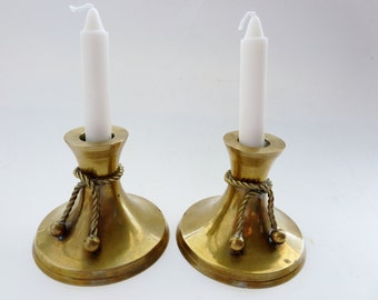 Vintage Brass Candlesticks -  Brass Rope and Ball Candlesticks -  Nautical Decor -  Retro Candlestick Holders