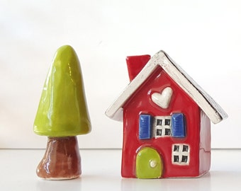Clay House | Red House | Miniature House | Whimsical house | Ceramic House | Little House | Heart Home
