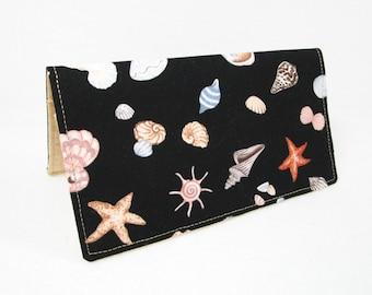 Handmade Checkbook Cover / Seashells / Washable