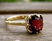 Burgundy Red Spinel Engagement Ring in 18K Yellow Gold with Scroll Work and Basket-Style Setting Size 7.5 - RESERVED for Amy - Remainder
