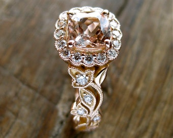 Square Cushion Cut Peach Morganite Engagement Ring in 14K Rose Gold with Diamonds in Flower Buds & Leafs on Vine Size 6