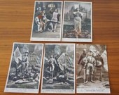 Set of Five Antique French Post Cards Showing the Life of Joan of Arc