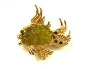 1964 Oleg Cassini Gold Plate Multi Colored Rhinestones Green Glass Belly Vintage Figural Fish Pin