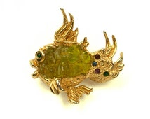 1964 Oleg Cassini Gold Plate Multi Colored Rhinestones Green Glass Belly Vintage Figural Fish Pin